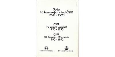 Sada 10 korunových mincí ČSFR 1990 - 1993, Masaryk, Štefánik, Rašín, 5 ks