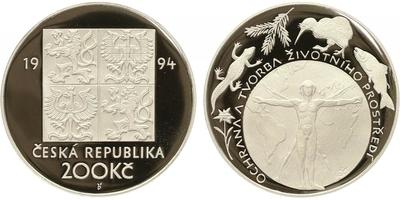 200 Kč 1994 - Životní prostředí, PROOF