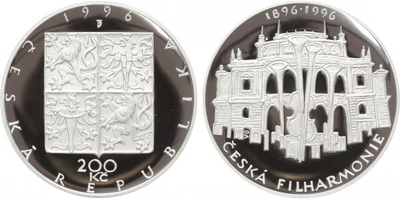 200 Kč 1996 - Česká filharmonie, PROOF