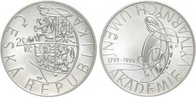 200 Kč 1999 - Akademi výtvarných umění v Praze, běžná kvalita