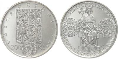 200 Kč 2000 - Měnová reforma Václava II., běžná kvalita