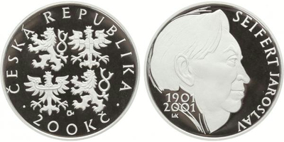 200 Kč 2001 - Jaroslav Seifert, PROOF