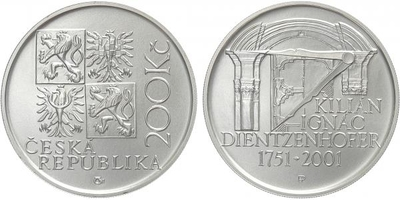 200 Kč 2001 - Kilián Ignác Dientzenhofer, běžná kvalita