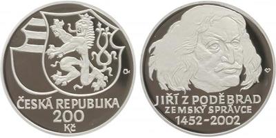 200 Kč 2002 - Jiří z Poděbrad, PROOF