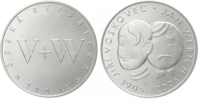 200 Kč 2005 - Jiří Voskovec a Jan Werich, běžná kvalita