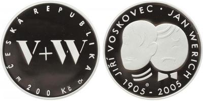 200 Kč 2005 - Jiří Voskovec a Jan Werich, PROOF