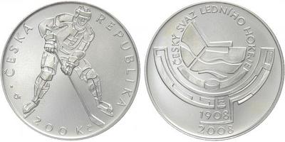 200 Kč 2008 - Český svaz ledního hokeje, běžná kvalita