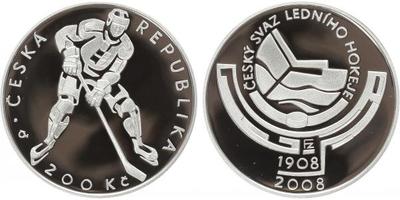 200 Kč 2008 - Český svaz ledního hokeje, PROOF
