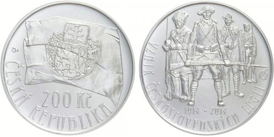 200 Kč 2014 - Založení československých legií, běžná kvalita