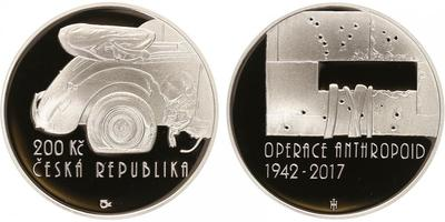 200 Kč 2017 - Operace Anthropoid, PROOF