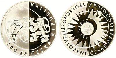 200 Kč 2017 - 100. výročí založení České astronomické společnosti, PROOF