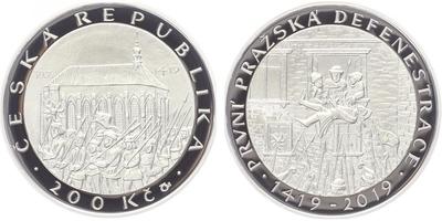 200 Kč 2019 - 600. výročí první pražské defenestrace, PROOF
