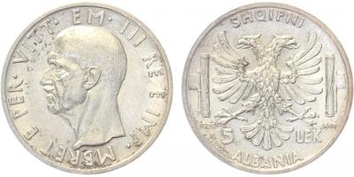 5 Lek 1939, Ag 0,835, 23 mm (5 g)