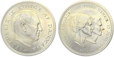 5 Kroner 1960 - Výročí stříbrné svatby, Ag 0,800, 33 mm (17,00 g)