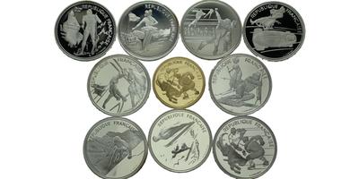 Francie 1992 - Olympiáda Albertville, Sada 9 stříbrných (100 frank) a jedna zlatá min