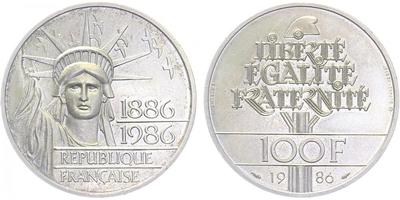 Francie, 100 Frank 1986, tlustý odražek