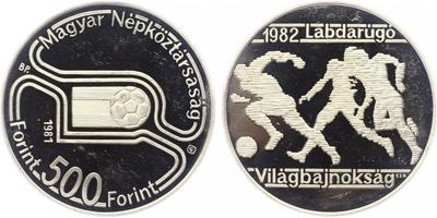 500 Forint 1981 - MS ve fotbale 1982 ve Španělsku, PROOF