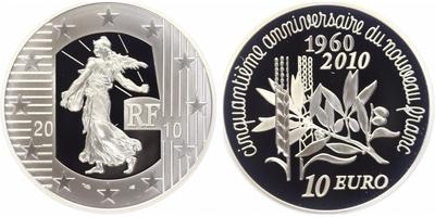 10 Euro 2010 - 50. výročí nového franku, PROOF