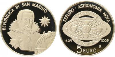 San Marino, 5 Euro 2009 - Johannes Kepler, PROOF
