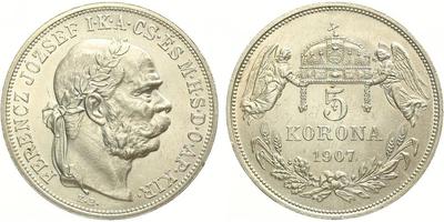 5 Koruna 1907 KB, nep. hranky, nep. rysky