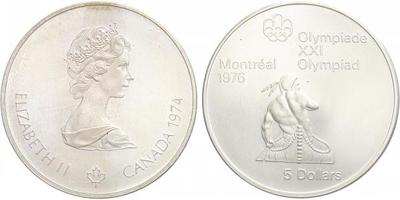 5 Dollar 1974 - Olympiáda Montreal 1976, Ag 0,925 (24,30 g)
