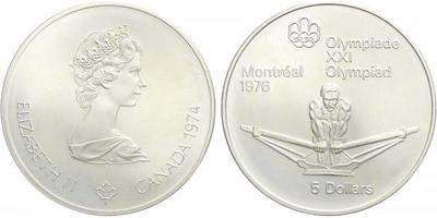5 Dollar 1974 - Olympiáda Montreal 1976, běžná kvalita