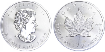 Maple Leaf, 5 Dollar 2017, investiční mince