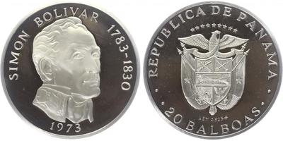 20 Balboas 1973 - Simon Bolivar, PROOF