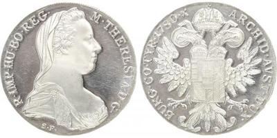 Marie Terezie - Tolar 1780, Ag 0,833, 41 mm (28,06 g), novoražba