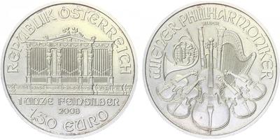 1,50 Euro 2008 - Vídeňská filharmonie, Ag 0,999 (31,105 g)