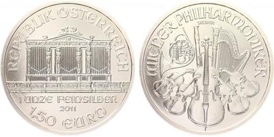 1,50 Euro 2011 - Vídeňská filharmonie, Ag 0,999 (31,105 g)