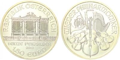 1,50 Euro 2012 - Vídeňská filharmonie, Ag 0,999 (31,105 g)