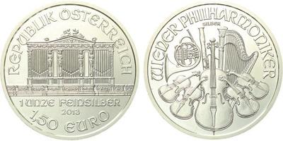 1,50 Euro 2013 - Vídeňská filharmonie, Ag 0,999 (31,105 g)