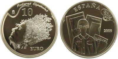 Španělsko, 10 Euro 2009 - Španělští malíři - Salvador Dalí, 1 Oz, PROOF