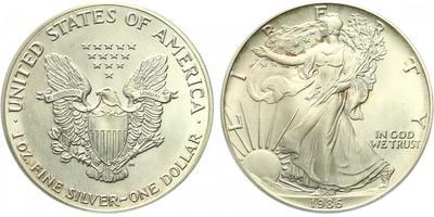 USA, 1 Dollar 1986 - Liberty, Ag 0,9993 (31,101 g), 1 Oz