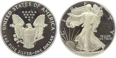 USA, 1 Dollar 1986 - Liberty, Ag 0,9993 (31,101 g), 1 Oz, PROOF