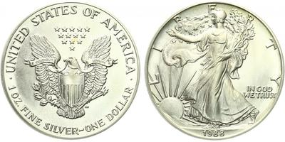 USA, 1 Dollar 1988 - Liberty, Ag 0,9993 (31,101 g), 1 Oz