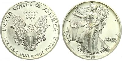 USA, 1 Dollar 1989 - Liberty, Ag 0,9993 (31,101 g), 1 Oz
