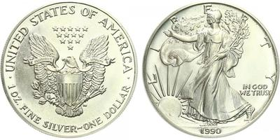 USA, 1 Dollar 1990 - Liberty, Ag 0,9993 (31,101 g), 1 Oz