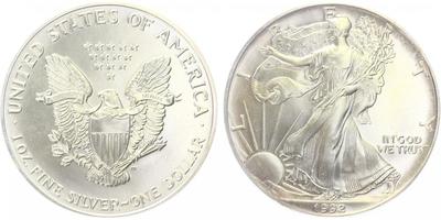 USA, 1 Dollar 1992 - Liberty, Ag 0,9993 (31,101 g), 1 Oz