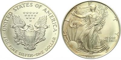 USA, 1 Dollar 1993 - Liberty, Ag 0,9993 (31,101 g), 1 Oz