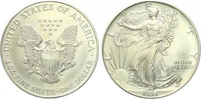 USA, 1 Dollar 1994 - Liberty, Ag 0,9993 (31,101 g), 1 Oz