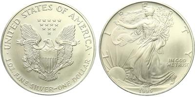 USA, 1 Dollar 1995 - Liberty, Ag 0,9993 (31,101 g), 1 Oz