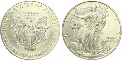 USA, 1 Dollar 1997 - Liberty, Ag 0,9993 (31,101 g), 1 Oz