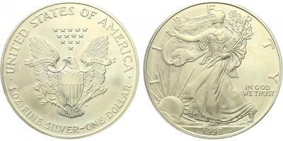 USA, 1 Dollar 1998 - Liberty, Ag 0,9993 (31,101 g), 1 Oz