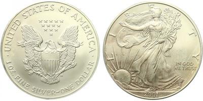 USA, 1 Dollar 2001 - Liberty, Ag 0,9993 (31,101 g), 1 Oz
