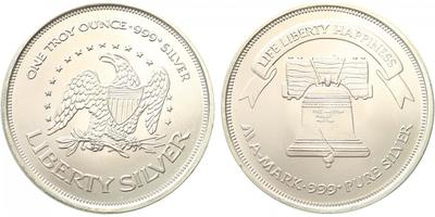 1 Troyská unce b.l.- Liberty silver, Ag 0,999 (31,101 g), 1 OZ, b.k.