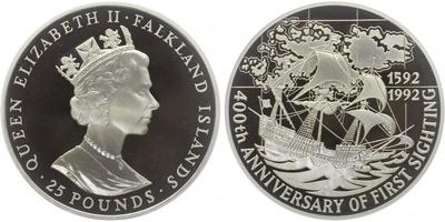 25 Libra 1992 - 400. výročí objevení Islanských ostrovů, 5 OZ, PROOF