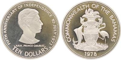 10 Dollar 1978 - 5. výročí nezávislosti, PROOF