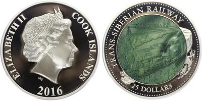 25 Dollar 2016 - 100. výročí Transsibiřské magistrály, kolorováno, PROOF